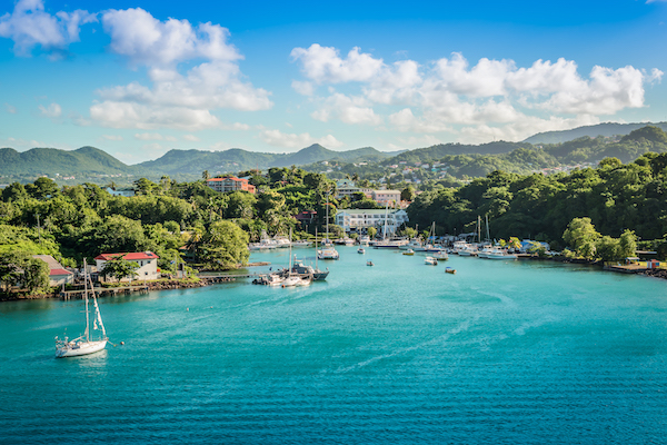 Panorama landscape with sea and mountains at the harbor of Castries in Saint Lucia